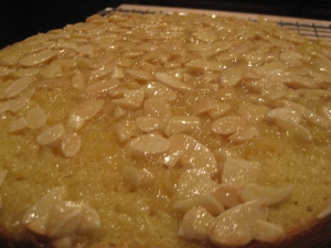 Close up photo of butter almond cake