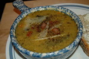 Close up image of cannellini and kale soup