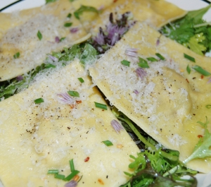 Photo of Ravioli on a bed of spicy mixed greens
