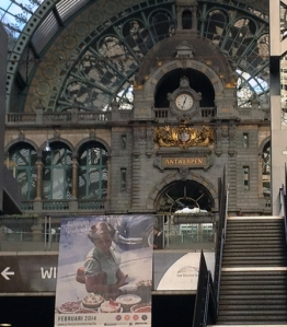 Antwerp station, looking up from the platforms.