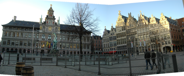 Panoramic view of half of the Grote Markt