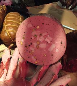 Pistachio-studded mortadella